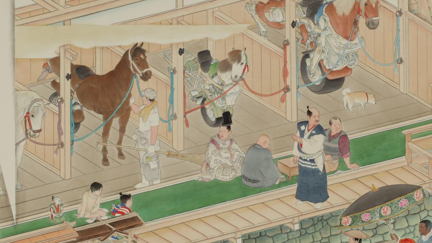 山口晃が新作《厩圖 2016》を初公開。「馬の美術150選」が馬の博物館で ...